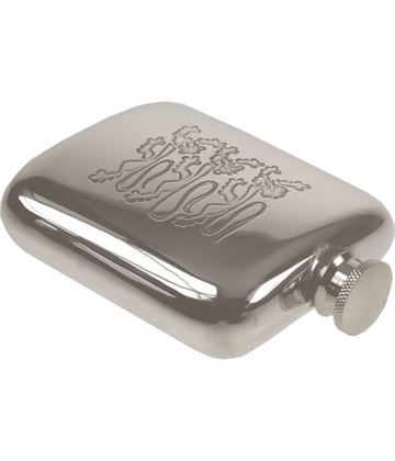 """4oz Three Lions Embossed Sheffield Pewter Hip Flask 9.5cm (3.75"""")"""