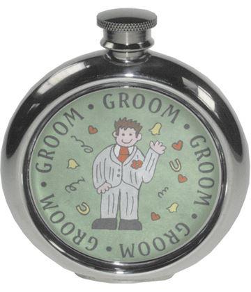 "Round 6oz Groom Sheffield Pewter Hip Flask 11.5cm (4.5"")"