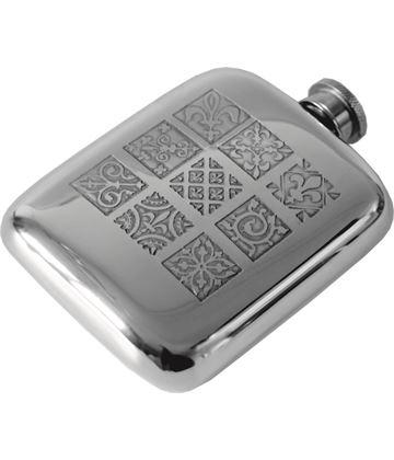 """4oz Medieval Tile Embossed Sheffield Pewter Hip Flask 9.5cm (3.75"""")"""