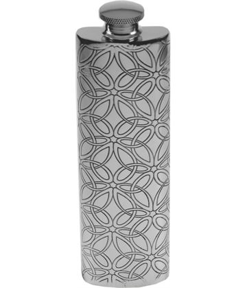 "3oz Triquetra Patterned Sheffield Pewter Hip Flask 14.5cm (5.75"")"