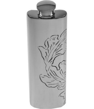 "3oz Acanthus Patterned Sheffield Pewter Hip Flask 14.5cm (5.75"")"