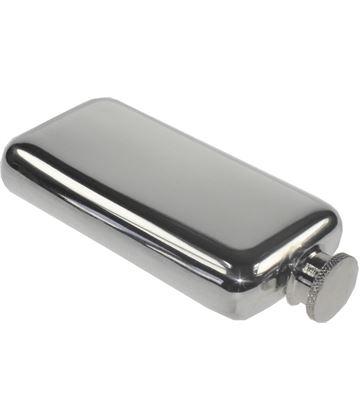 "3oz Plain Polished Sheffield Pewter Pocket Flask 12.5cm (5"")"