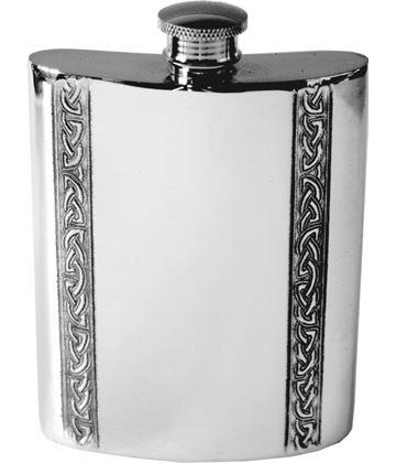 """6oz Vertical Celtic Band Sheffield Pewter Hip Flask 11cm (4.25"""")"""