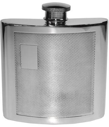 """4oz Barley Patterned Sheffield Pewter Hip Flask 8.5cm (3.25"""")"""