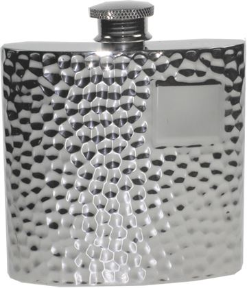 "4oz Hammered Sheffield Pewter Hip Flask 8.5cm (3.25"")"
