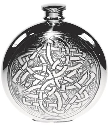 "Round 6oz Celtic Circle Embossed Sheffield Pewter Hip Flask 11.5cm (4.5"")"
