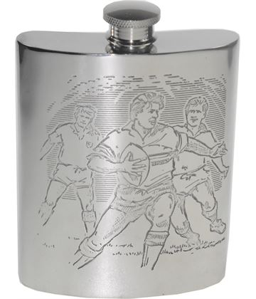 "6oz Rugby Scene Embossed Sheffield Pewter Hip Flask 11cm (4.25"")"