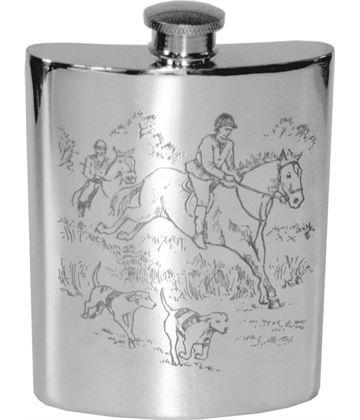 "6oz Hunting Scene Embossed Sheffield Pewter Hip Flask 11cm (4.25"")"