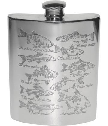 "6oz Fish Embossed Sheffield Pewter Hip Flask 11cm (4.25"")"