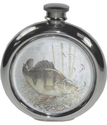 "6oz Round Perch Fishing Sheffield Pewter Hip Flask 11.5cm (4.5"")"