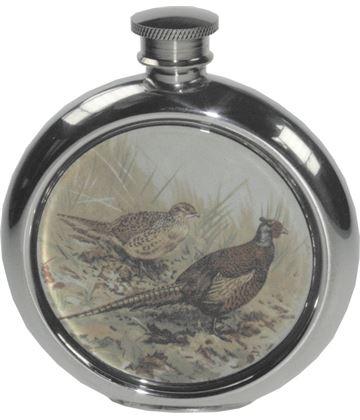 "6oz Round Pheasant Game Sheffield Pewter Hip Flask 11.5cm (4.5"")"