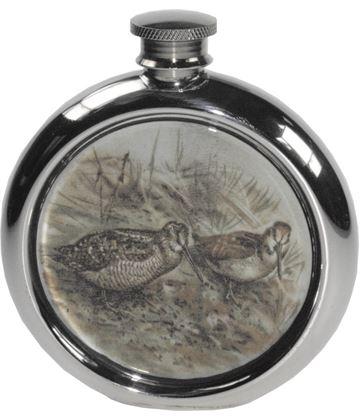 "6oz Round Woodcock Game Sheffield Pewter Hip Flask 11.5cm (4.5"")"