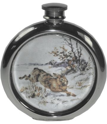 """6oz Round Hare Game Sheffield Pewter Hip Flask 11.5cm (4.5"""")"""