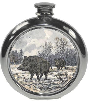 "6oz Round Boar Game Sheffield Pewter Hip Flask 11.5cm (4.5"")"