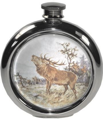 """6oz Round Stag Game Sheffield Pewter Hip Flask 11.5cm (4.5"""")"""