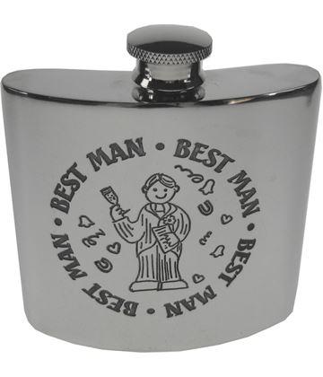 "4oz Best Man Embossed Sheffield Pewter Hip Flask 8.5cm (3.25"")"