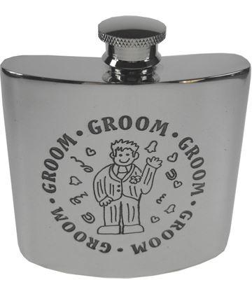 "4oz Groom Embossed Sheffield Pewter Hip Flask 8.5cm (3.25"")"