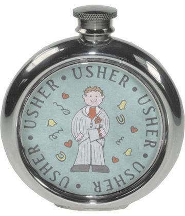 "Round 6oz Usher Sheffield Pewter Hip Flask 11.5cm (4.5"")"