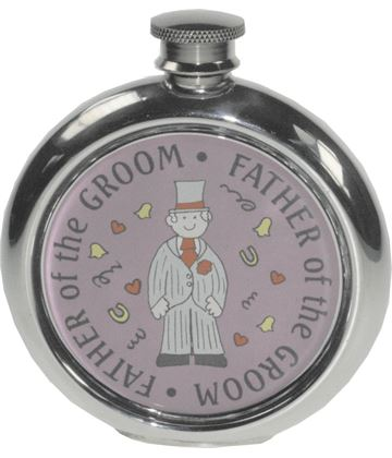 """Round 6oz Father of the Groom Sheffield Pewter Hip Flask 11.5cm (4.5"""")"""