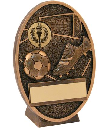 """Antique Gold Resin Oval Football Plaque Trophy 11cm (4.25"""")"""
