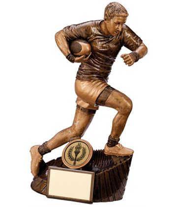 "Gold Resin Raider Rugby Figure Trophy 18cm (7"")"