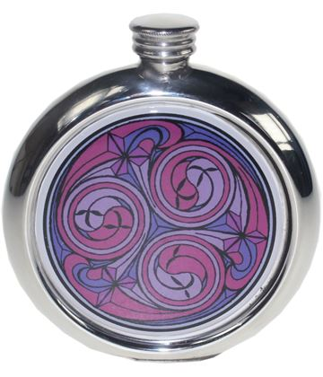 """Round 6oz Red Kells Picture Sheffield Pewter Hip Flask 11.5cm (4.5"""")"""