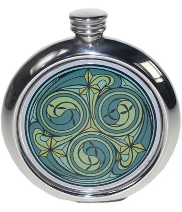 """Round 6oz Green Kells Picture Sheffield Pewter Hip Flask 11.5cm (4.5"""")"""