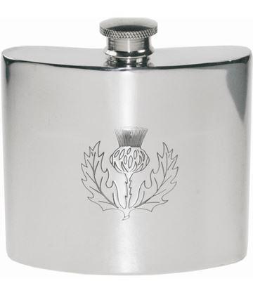 "6oz Scottish Thistle Embossed Sheffield Pewter Hip Flask 10cm (4"")"