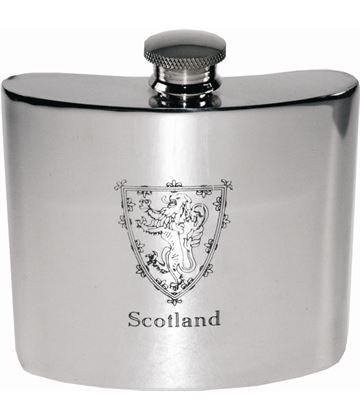 "6oz Scottish Lion Rampant Sheffield Pewter Hip Flask 10cm (4"")"