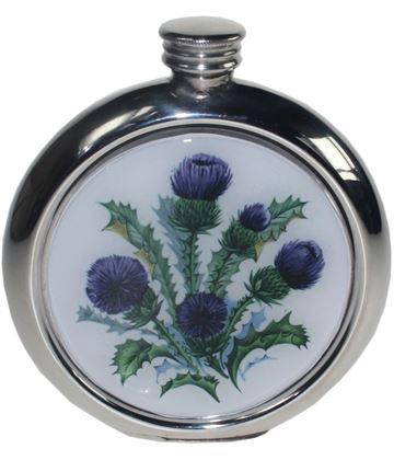 "Round 6oz Scottish Thistle Picture Sheffield Pewter Hip Flask 11.5cm (4.5"")"