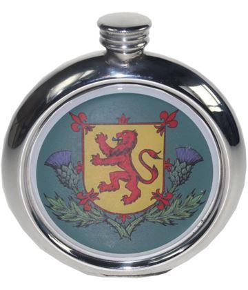 "Round 6oz Lion Rampant Picture Sheffield Pewter Hip Flask 11.5cm (4.5"")"