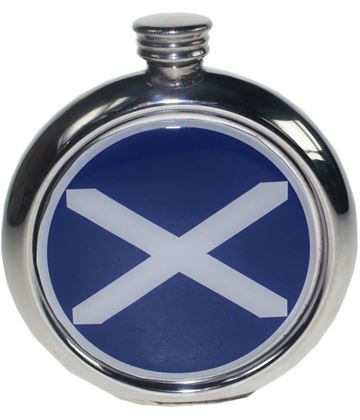 """Round 6oz St Andrews Flag Picture Sheffield Pewter Hip Flask 11.5cm (4.5"""")"""