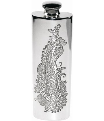 "3oz Paisley Patterned Sheffield Pewter Purse Flask 14.5cm (5.75"")"