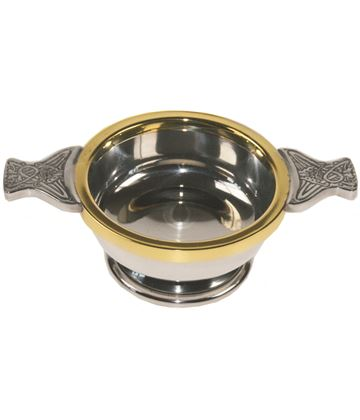 """Pewter Quaich Bowl with Brass Rim and Celtic Patterned Handle 9cm (3.5"""")"""