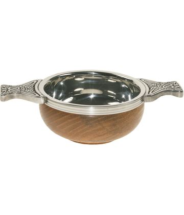 """Pewter and Wooden Base Quaich Bowl 7cm (2.75"""")"""