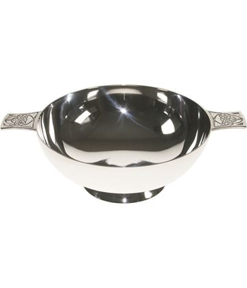 "Spun Silver Plated Quaich Bowl Celtic Detailed Handles 13cm (5"")"
