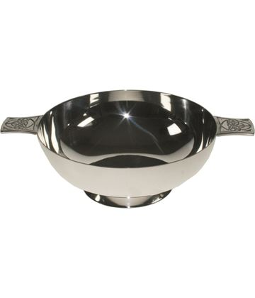 "Spun Silver Plated Quaich Bowl Celtic Detailed Handles 15.5cm (6"")"