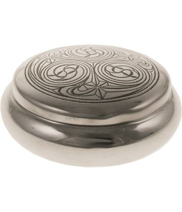"Pewter Georgian Trinket box with a Kells Design 8.5cm (3.25"")"