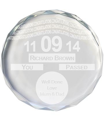 """Congratulations Tax Disc Glass Crystal Round Paperweight 9cm (3.5"""")"""