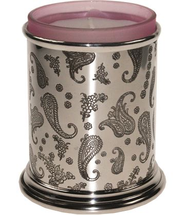 "Pewter Paisley Candle Votive and Candle 9cm (3.5"")"
