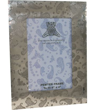 """Silver Pewter Photo Frame with Paisley Detail 20.5cm (8"""")"""