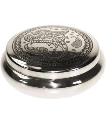 "Pewter Georgian Trinket box with a Paisley Pattern 8.5cm (3.25"")"