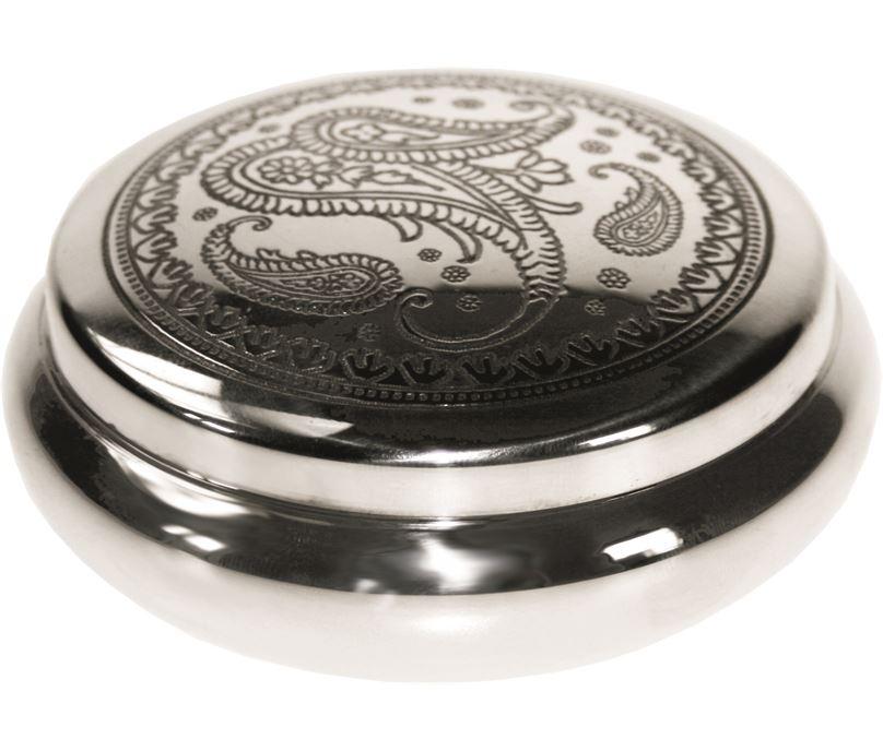 "Pewter Georgian Trinket box with a Paisley Pattern 8.5cm (3.25"")"