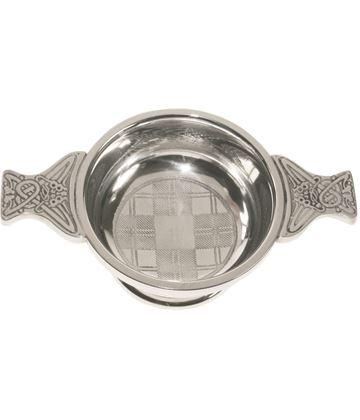 "Spun Pewter Tartan Quaich Bowl 7cm (2.75"")"