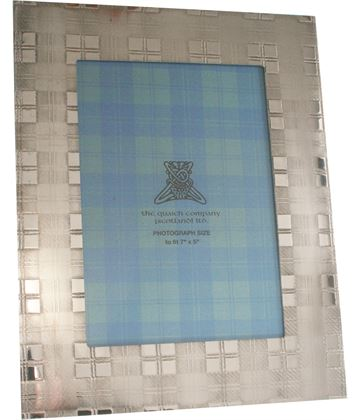 "Silver Pewter Photo Frame with Tartan Detail 24.5cm (9.5"")"