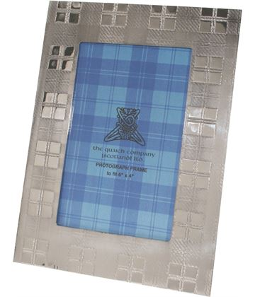 "Silver Pewter Photo Frame with Tartan Detail 20.5cm (8"")"
