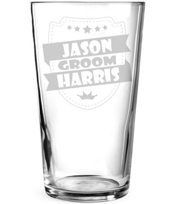"Groom Retro Shield Personalised Pint Glass 15cm (6"")"