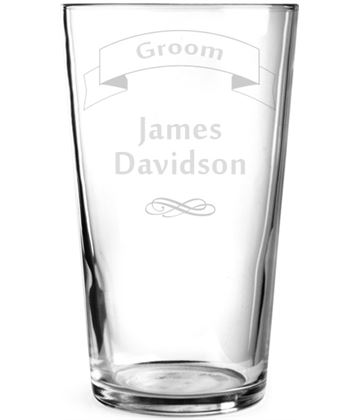 "Wedding Groom Ribbon Design Personalised Pint Glass 15cm (6"")"
