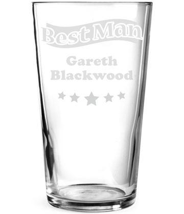 "Best Man Star Personalised Pint Glass 15cm (6"")"