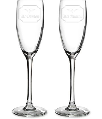 "Mr & Mrs Personalised Champagne Flutes - Label Design 22.5cm (8.75"")"